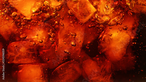 Fototapeta Detail of cola drink with ice cubes obraz