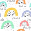 seamless pattern with cartoon rainbows, decor elements. colorful vector for kids. hand drawing, flat style. baby design for fabric, print, textile, wrapper