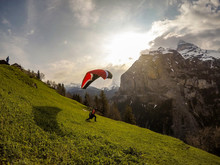 Extreme Paragliding Launching In Swiss Alps
