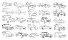 The Big Set Of Car Sketches.