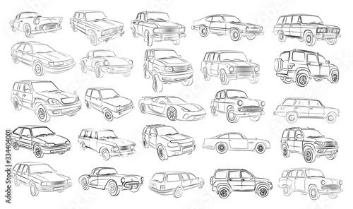 Fototapeta The Big set of car sketches.  obraz