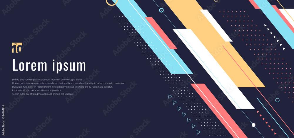 Fototapeta Banner web design template dynamic geometric pattern diagonal stripes line elements on blue background