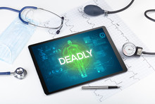 Tablet Pc And Doctor Tools With DEADLY Inscription, Coronavirus Concept