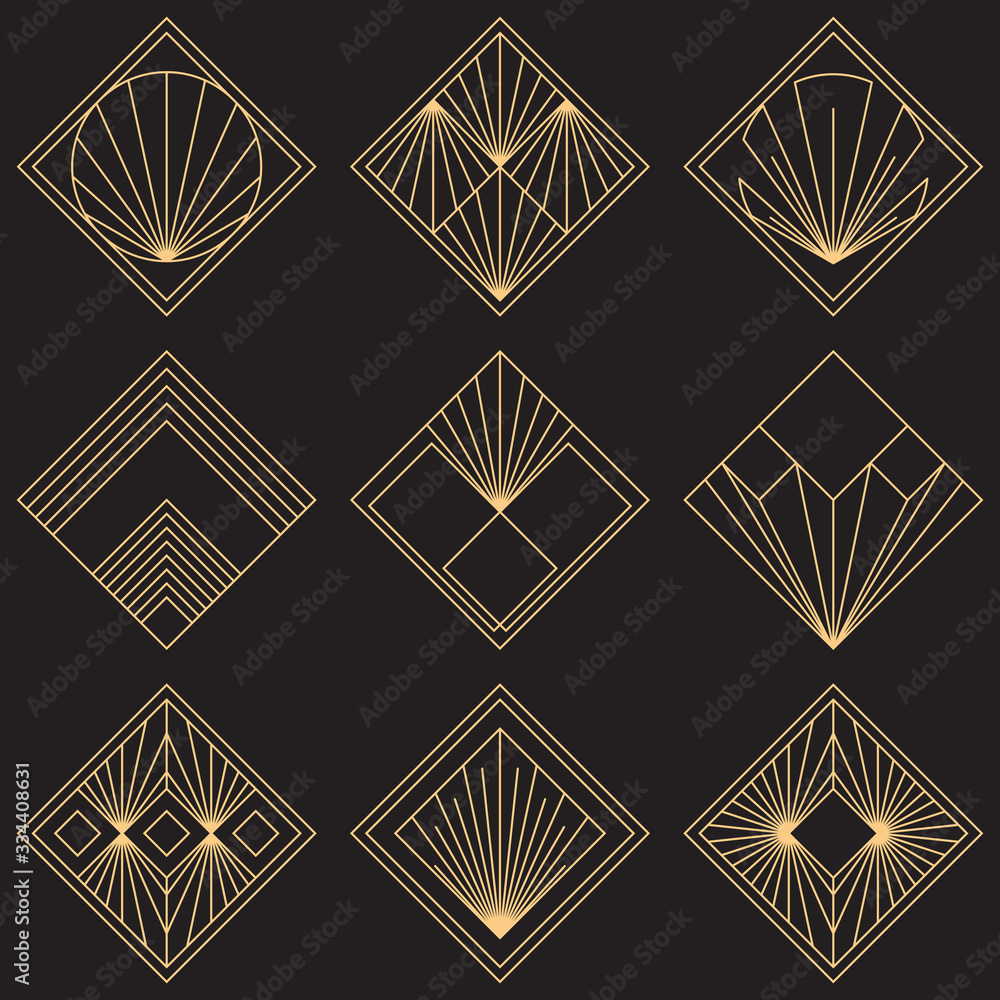 Fototapeta Sacred geometry signs. Art deco symbols. Set of golden icons. Mystical geometric elements. Art Deco diamond emblems. Wire outline gradient logos. Golden foil logotypes. Linear geometry tiles.