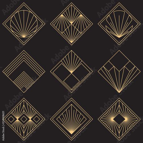 Sacred geometry signs. Art deco symbols. Set of golden icons. Mystical geometric elements. Art Deco diamond emblems. Wire outline gradient logos. Golden foil logotypes. Linear geometry tiles. Fototapete