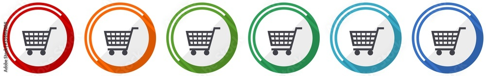 Fototapeta Shopping cart icon set, shop, trolley flat design vector illustration in 6 colors options for webdesign and mobile applications