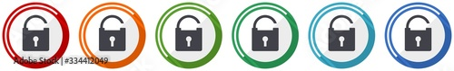 Photographie Padlock icon set, security flat design vector illustration in 6 colors options f