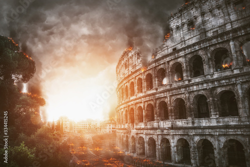 The apocalypse with Rome and the Colosseum on fire Canvas Print