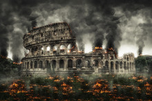 Colosseum, Rome On Fire With Thick Smoke