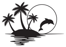 Illustration Of Tropical Island With Palms, Sunset And Dolphin (summer Design)