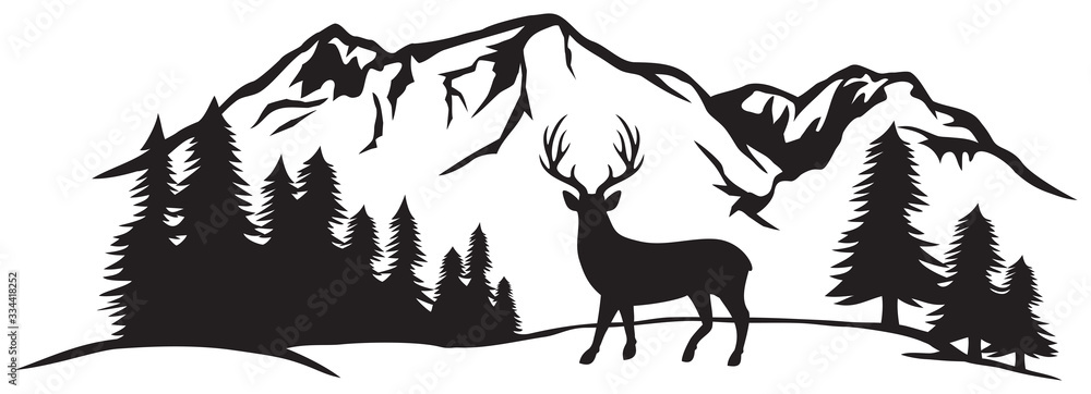 Fototapeta Vector illustration of mountain landscape with forest and deer