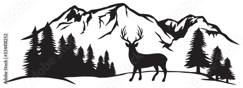 Fototapeta Vector illustration of mountain landscape with forest and deer obraz