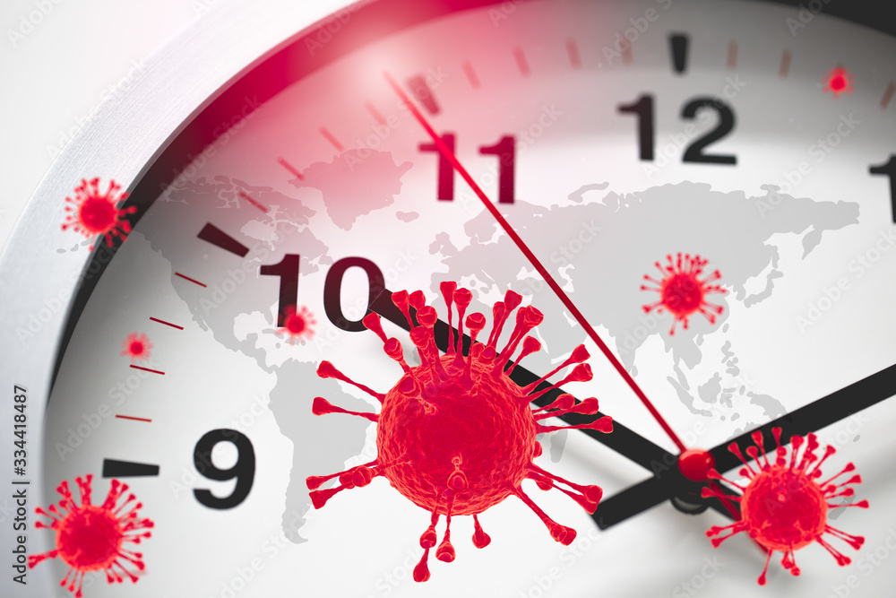 Fototapeta Coronavirus COVID-19 Global Virus Emergency Times Urgent time countdown concept.