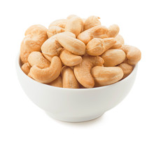 Big Bowl With Cashew Nuts Isolated On White Background