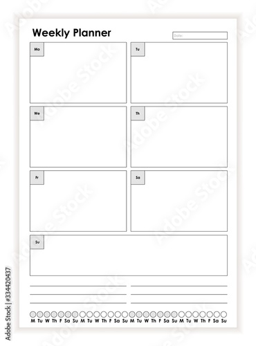 Fototapeta Simple black and white weekly planner paper sheet template vector flat illustration. Monochrome daily week schedule. Business calendar start from monday. Empty board with place for text obraz na płótnie