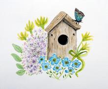 Sfondo Primaverile, Casetta Degli Uccelli Nel Giardino Fiorito, Isolato Su Sfondo Bianco