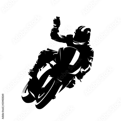 Motorbike rider celebrates victory. Isolated vector silhouette. Ink drawing. Motorsport racing Wall mural
