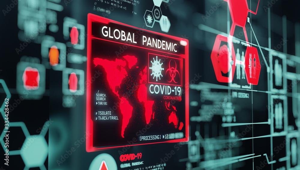 Fototapeta Covid-19 coronavirus, data visualization of the virus as it turns into a global pandemic. 3D illustration.