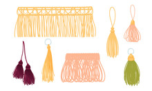 Ornamental Tassels For Clothing Decoration Isolated On White Background Vector Set