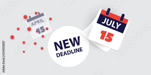 Fototapeta Tax Day Reminder Concept - Calendar Design Template - USA Tax Deadline, New Extended Date for IRS Federal Income Tax Returns: 15 July 2020 obraz