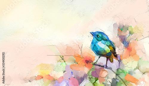 Fototapeta reprodukcje  abstrakcyjny-kolorowy-olej-malarstwo-akrylowe-ptaka-i-wiosennego-kwiatu-pedzel-do-malarstwa-nowoczesnego