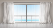 Glass Windows With White Silk Curtains And Overlooking To Sea. Vector Realistic Interior Of Empty Room In Home Or Hotel With Glass Doors To Balcony, Terrace With Railings