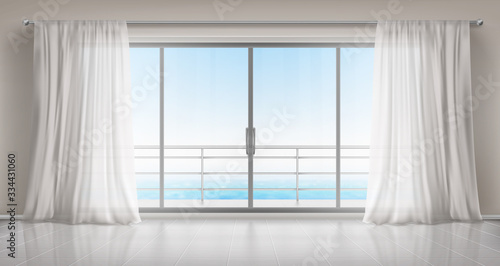 Fototapeta do sypialni   glass-windows-with-white-silk-curtains-and-overlooking-to-sea-vector-realistic-interior-of-empty-room-in-home-or-hotel-with-glass-doors-to-balcony-terrace-with-railings