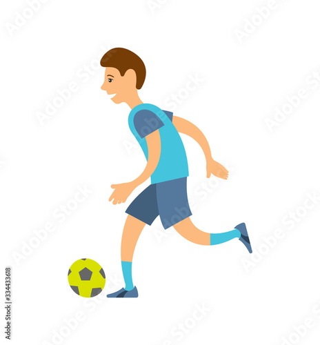Football player in uniform running with ball isolated cartoon character Fototapet