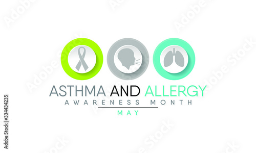 Photo Vector illustration on the theme of Asthma and Allergy awareness month of May