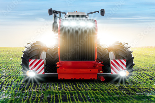 Sticker - Front view of agricultural tractor.