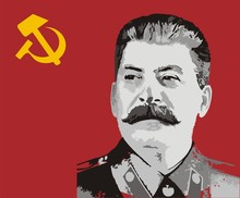 Flag Of USSR And Stalin