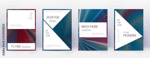 Photo Stylish brochure design template set. Red abstract
