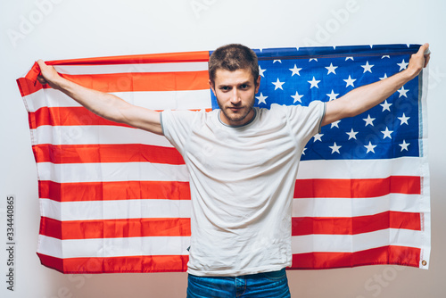 Fototapeta Man listening national anthem. Patriot.