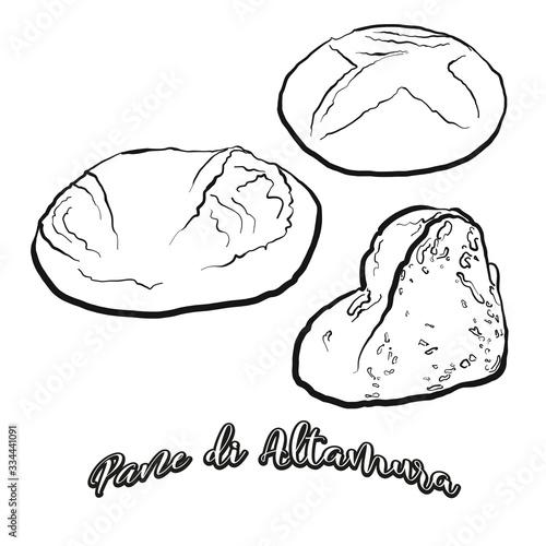 Pane di Altamura food sketch separated on white Canvas Print