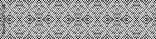 Fototapeta Black and white Seamless Border Scroll. Geometric  obraz