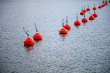 Red Buoys In The Sea.