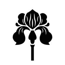 Vector Silhouette Art Deco Style Isolated Logo Black Iris Flower