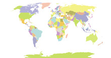 Political Detail World Map Wit...