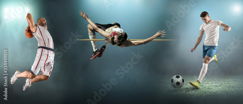 Fototapeta Collage of sports shoots of soccer, football, basketball and athletic. All athletes in dynamic action.  obraz