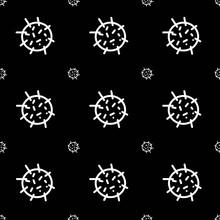 Imagen Abstracta De Dibujo Circular Similar A Un Virus Sobre Fondo Negro
