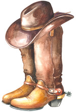 Cowboy Boot With Western Hat