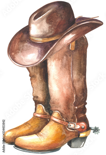 Valokuva Cowboy boot with western hat