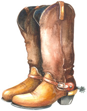 Watercolor Cowboy Boots
