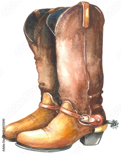 Photo Watercolor cowboy boots