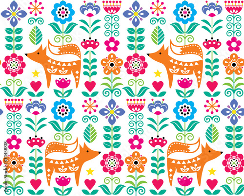 Carta da parati Scandinavian or Nordic folk art vector seamless pattern with flowers and fox, fl