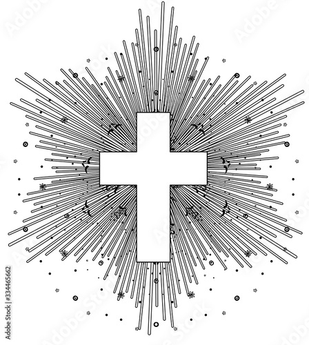 Photo Outline drawing of catholic cross with rays of the sun in vintage style