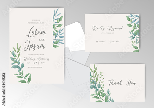 Obraz na płótnie Elegant wedding invitation card set template
