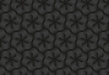 Black Seamless Pattern Of Twisted Hexagonal Stripes. Vector Dark Repeating Background Illustration.