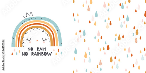 plakat Hand drawn illustration and seamless pattern with rainbow. T-shirt design and seamless pattern
