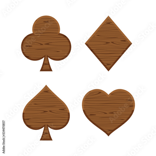Photo card suit icon wooden dark brown isolated on white background, symbol card clubs